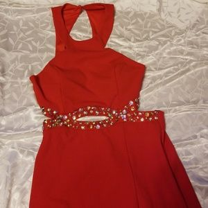 Special Occasion Red Halter Dress